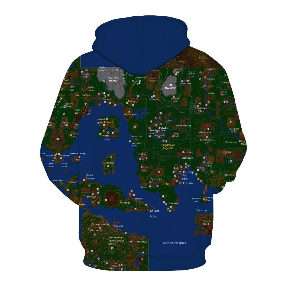 Usopu Mens//Womens 3D Map Print Hoodie