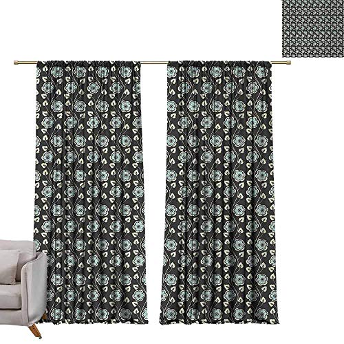 berrly Room Darkening Wide Curtains Floral,Ornamental Curvy Lines and Blooming Spring Flowers Vertical Pattern Art,Black Light Blue Cream W72 x L96 Thermal Insulating Blackout Curtain