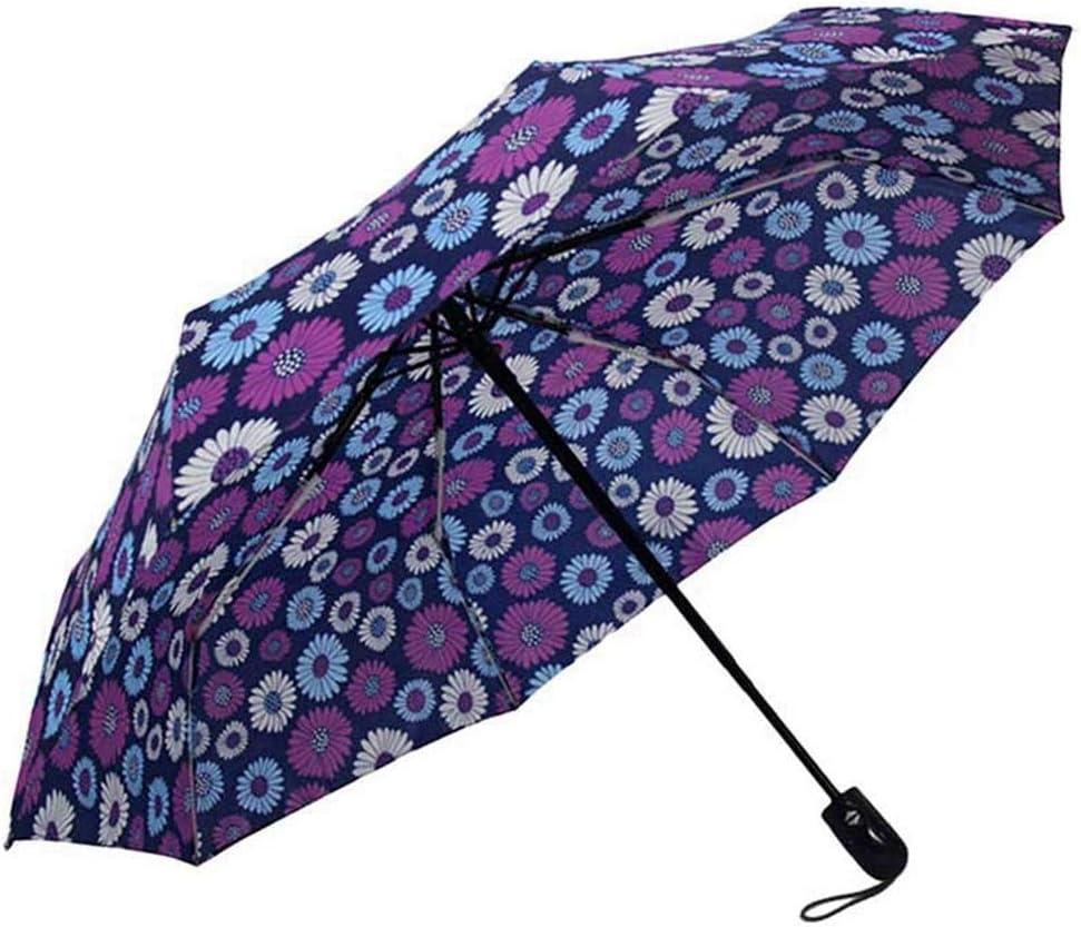 ZhiGe Umbrella Parasol,Foldable Umbrella,Flower Pattern Umbrella Rain Women Fashion Automatic Folding Compact Light Travel Creative Colorful Women Umbrella