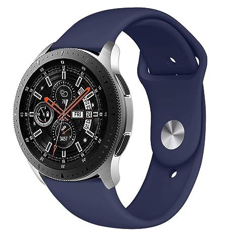 Latband Correa Compatible Samsung Galaxy Compatible 46mm /Gear S3 Frontie Classic Watch, 22mm Correa de Silicona Suave Reemplazo de la Pulsera para ...