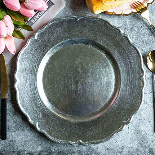 """BalsaCircle 6 pcs 13"""" Metallic Silver Scalloped Edge Charger Plates - Dinner Wedding Supplies for all Holidays Decorations"""