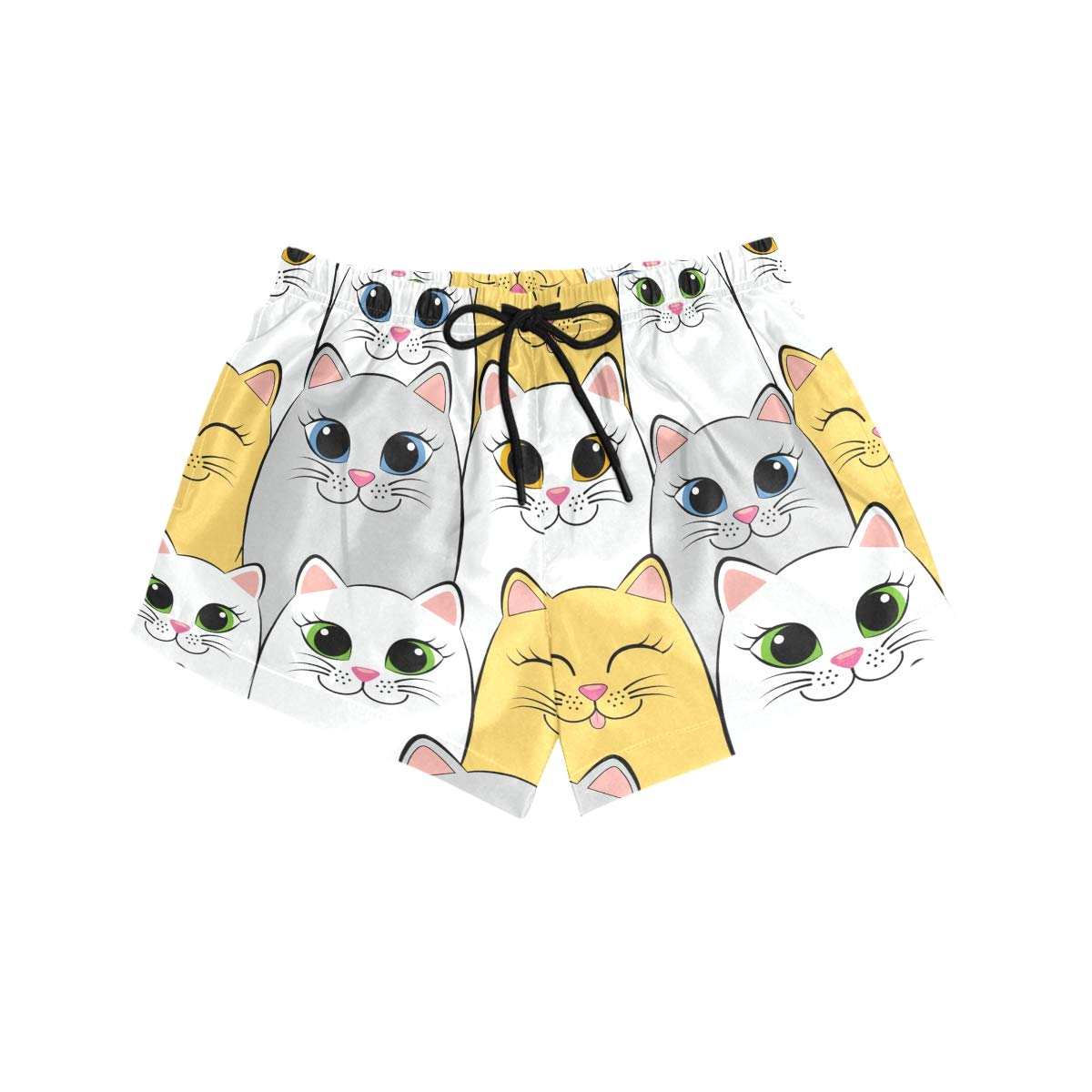 Women Swim Trunks Grey Yellow White Cats Smiling Beach Board Shorts