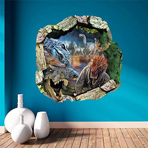 [3D Dinosaurs Through The Wall Stickers Jurassic Park Home Decoration. Diy Cartoon Boys Kids Room Decal Movie Mural Art] (Halloween Decorations New York)
