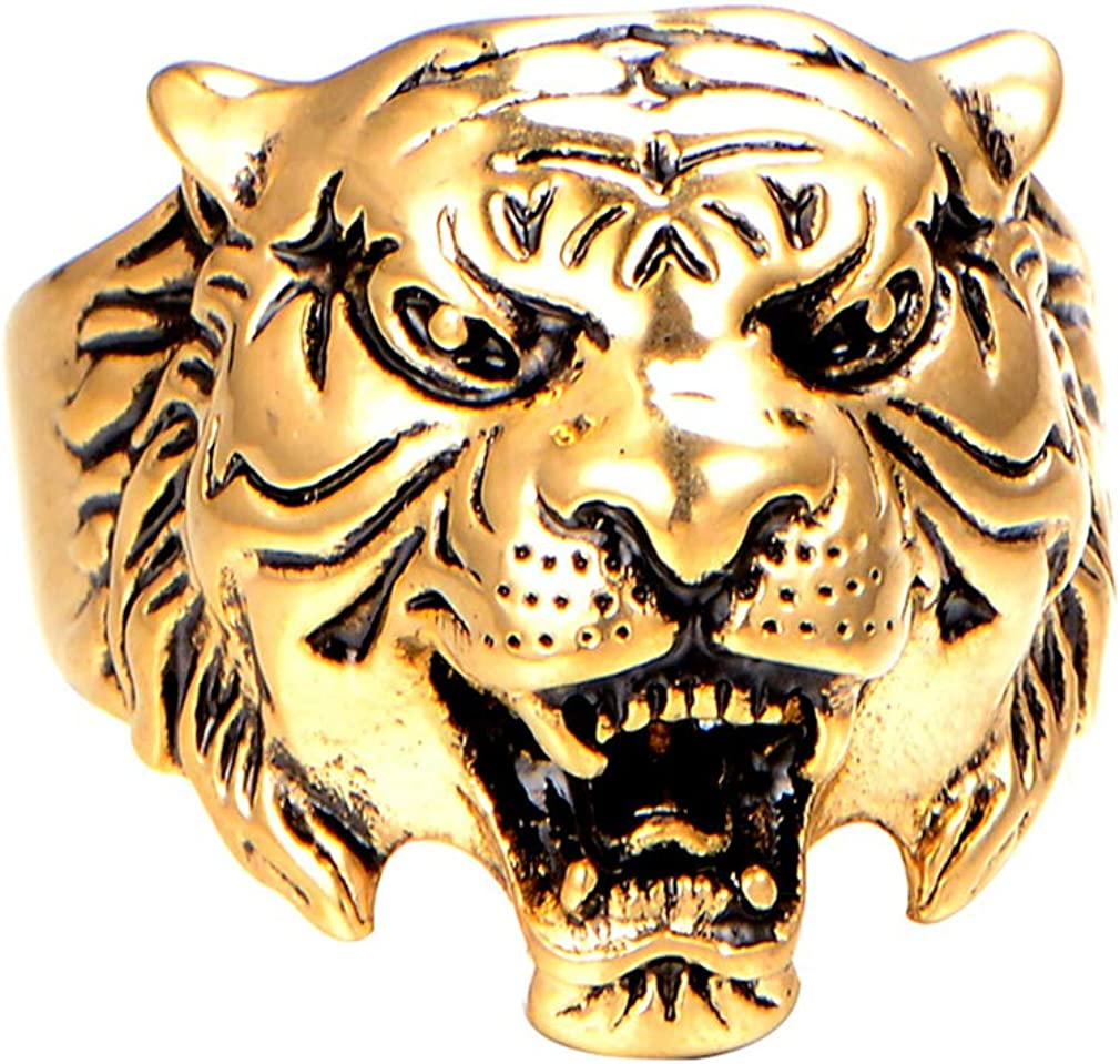 PAMTIER Men's Stainless Steel Vintage Gothic Biker Tiger Head Ring Band Animal Design