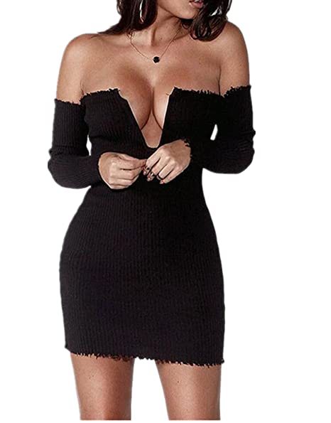 00a4074c4fcf7 Stayfashions Sexy Women Strapless Off Shoulder Bodycon Dress V-Neck Long  Sleeve Backless Short Mini