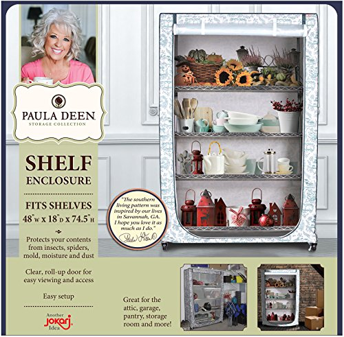 Jokari Paula Deen Storage Shelf Enclosure, Durable Wire Shelving Cover, Best Protection for Shelves, Keeping Out Dust, Dirt, Insects and Moisture, Keeps Your Items Guarded from External Elements