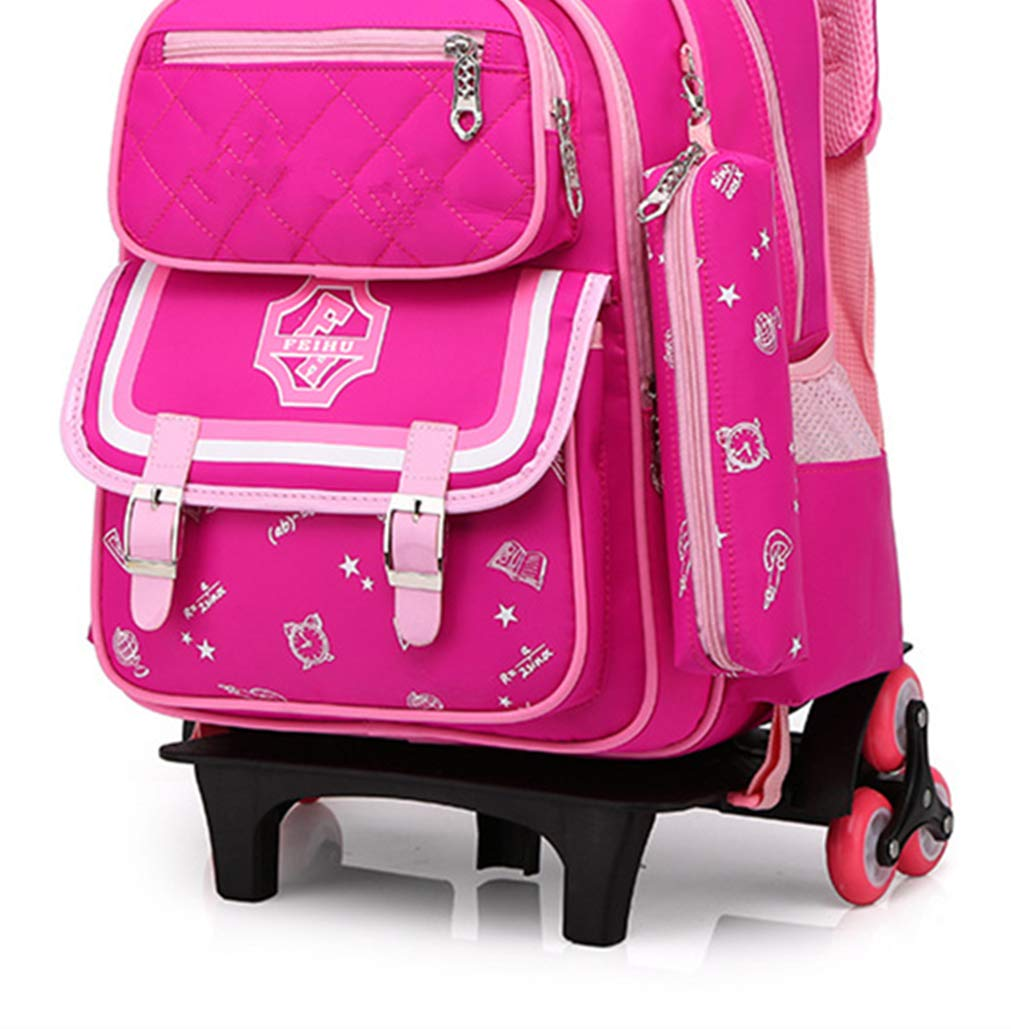 b89fde78f7 Zaino Trolley Borsa da Viaggio - - - Zaini Neutro Alta Capacità  Bambino Impermeabile Resistente Daypack 6 Ruote rosa ...
