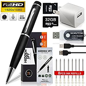 HD 1080P Hidden Camera Spy Pen Bundle with 32G Micro SD Card, 8 Ink Fills, Card Adapter and Card Reader by minicute
