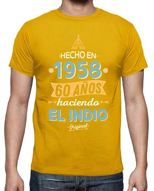 latostadora - Camiseta 1958 60 Aos Haciendo para Hombre Amarillo Mostaza S