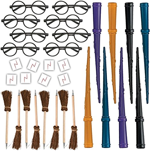 (HeroFiber Wizard Party Favors for 8 - Includes Broom Pens, Wands, Glasses, and Lightning Scar Tattoos - Perfect for a Wizard School Theme Birthday Party (8 of)