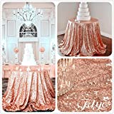 30% Off New Year 72'' Round Rose Gold Sequin Tablecloth Wedding Cake Tablecloth