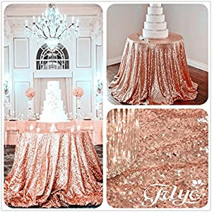 Lovely TRLYC 72u0027u0027 Round Rose Sequin Wedding Cake Tablecloth, Gold