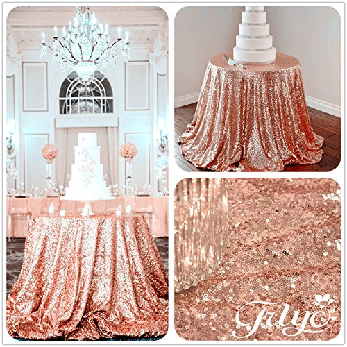 TRLYC 72'' Round Rose Sequin Wedding Cake Tablecloth, Gold