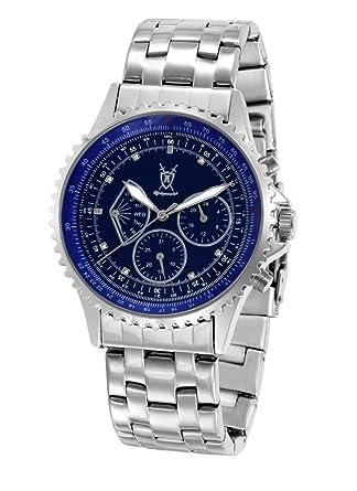 Konigswerk Mens Multifunction Watch Silver Tone Bracelet Blue Dial Crystal Markers SQ201470G