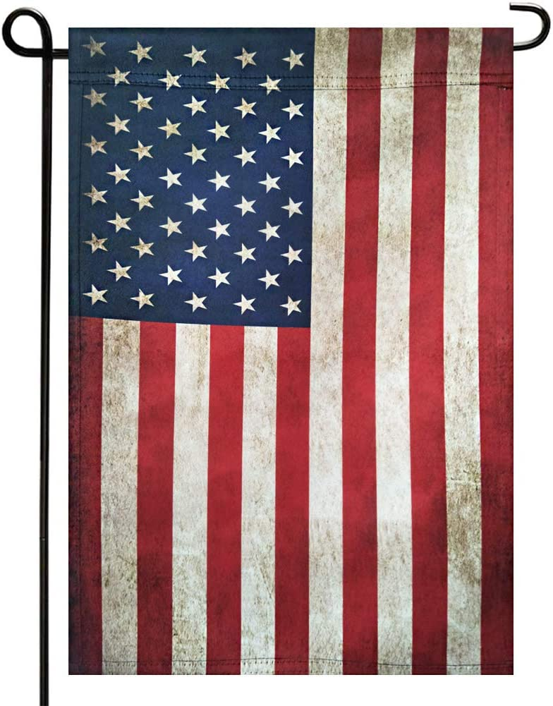 Gmeitoey Tea Stained American USA Garden Flags- Double Sided 4th of July Patriotic Strip and Vintage Primitive Antique US Garden Flag Banner Vertical Yard Flags Banner 12.5 x 18 Inch