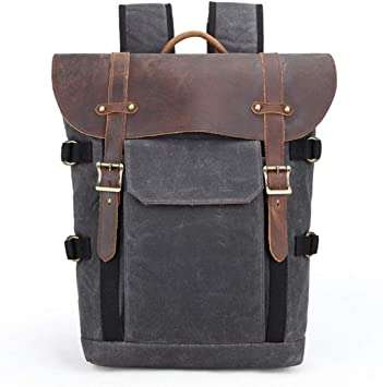 Color : Tan ZCbb Canvas Leather Backpack Shockproof SLR Camera Bag Professional Camera Bag Waterproof Camera Backpack Travel Hiking Outdoor Men and Women Backpack
