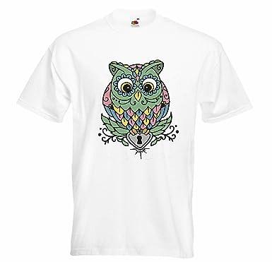 Damen T-Shirt mit Motiv Größe S bis XL EULE Schwarz//Weiss owl uhu