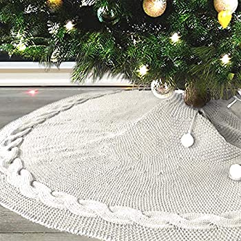 Cackleberry Home Cream and Gold Lurex Woven Fabric Christmas Tree Skirt Quilted Reversible 48 Inches