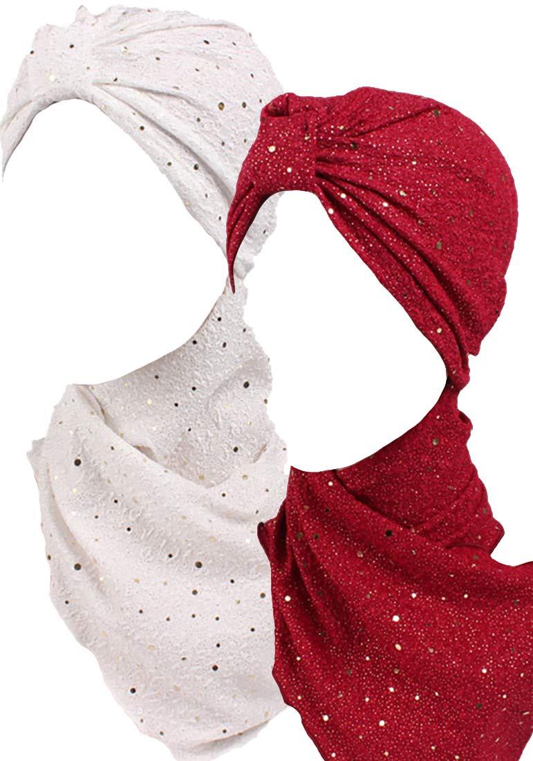 Ababalaya Women's Elegant Glitter Sequins One Piece Head Cover Muslim Hijab Turban Scarf,Burgundy+White