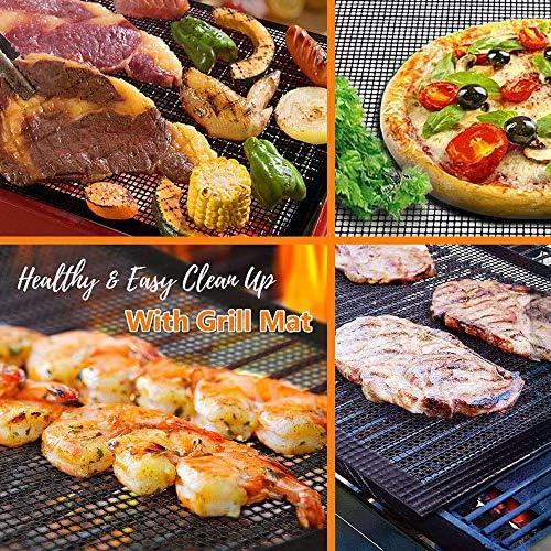 DYOYO Tapis de Cuisson Tapis de Cuisson pour Barbecue et Anti-adhérent de BBQ et Feuilles de Cuisson Réutilisable pour Les Barbecue à gaz Charbon ou électriques(Ronde