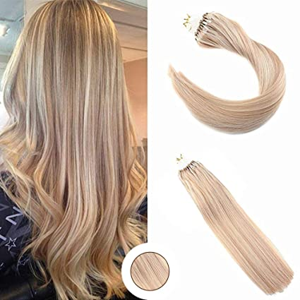 "Ugeat Highlight Rubio Extensiones de Cabello Humano Brasileno Extensiones Micro Loop 14"" 50g 1g/"