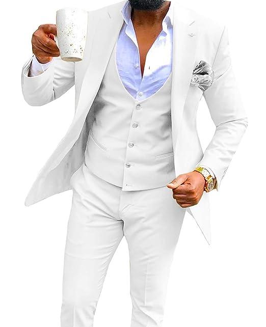 Mens 3 Pieces Formal Slim Fit Men Suit Notch Lapel Wedding ...