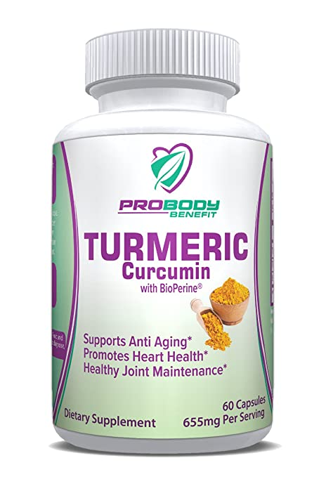 PRICES SLASHED! Turmeric Curcumin 650mg Capsules w/Bioperine Black Pepper - Effective Pain Relief & Anti Inflammatory for Healthy Joints; Best Anti-oxidant; Naturally Relieve Anxiety 60 Capsules