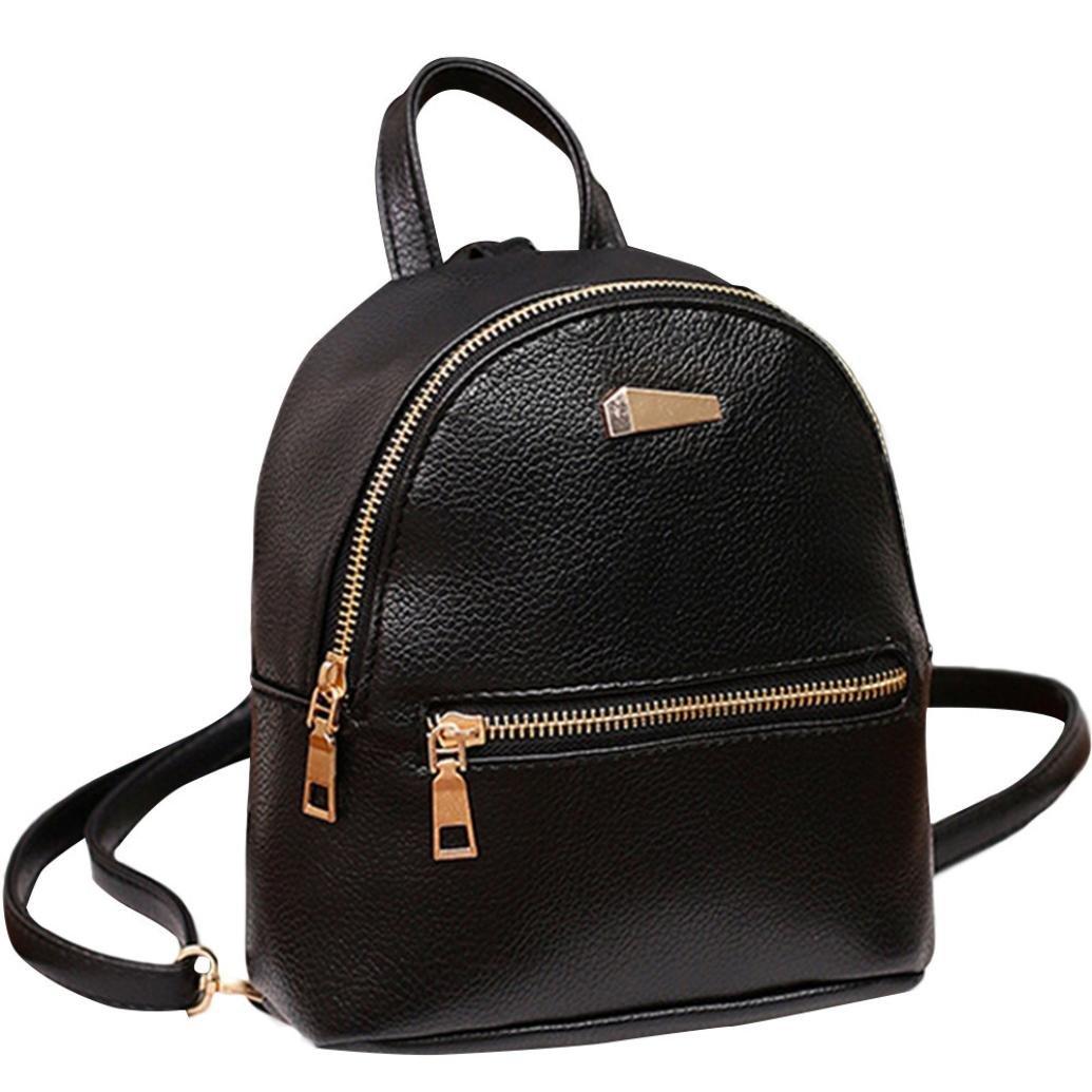 Rakkiss Women Leather Backpack Shoulder Satchel Travel Bag School Rucksack College Casual Crossbody Bag (One_Size, Black)