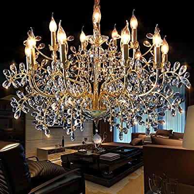 Generic Full Crystal Style Crystals Chandelier 15 Lights Island Light Indoor Light Living Room Lamp Color Gold and Clear