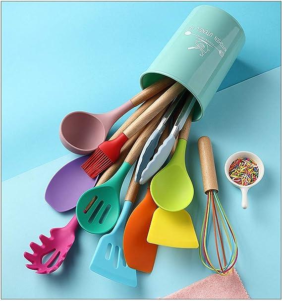 Color/é Fouet Silicone Mousseur Lait Cr/ème Ustensiles De Cuisine pour M/élanger en Acier Inoxydable Poign/ée M/élangeur Remuant Outil Multicolore