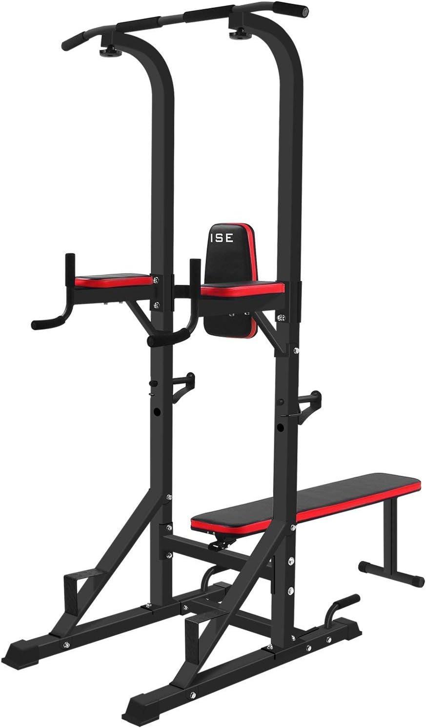 ISE Chaise Romaine Multifonction Barre de Traction Station avec Banc de Musculation pour Dips, Pompes, Développé-Couchés, SY-4006