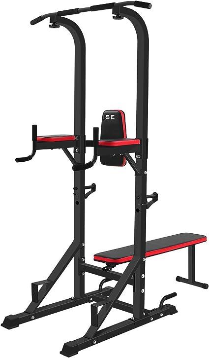 ISE Chaise Romaine Multifonction Barre de Traction Station avec Banc de Musculation pour Dips, Pompes, Développé Couchés, SY 4006