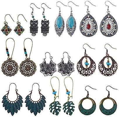 6bc444f9ddbd3 Bohemian Vintage Earrings, Retro Rhinestone Boho Statement Earrings ...