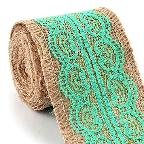 DealMux Burlap Gift Tags Wedding Belt Strap String Crafting Lace Ribbon Roll 2.4 x 3.3 Yards Turquoise