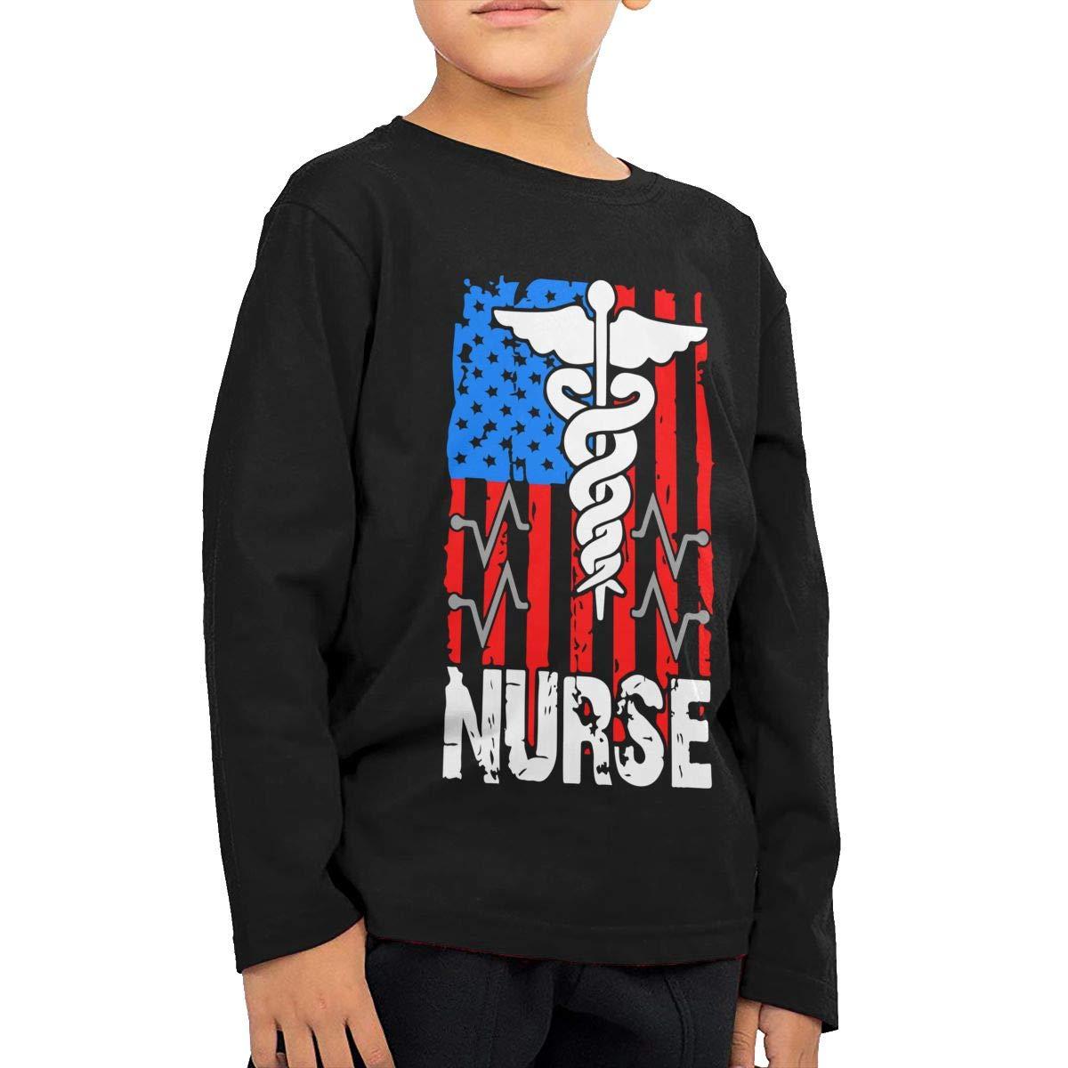 CERTONGCXTS Baby Girls Little Boys Nurse American Flag ComfortSoft Long Sleeve Shirt