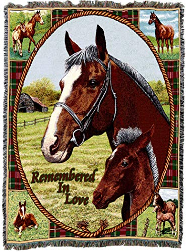 Pure Country Weavers | Memorial Thoroughbred Loss of a Horse Woven Tapestry Throw Blanket with Fringe Cotton USA 72x54