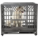 SMONTER 42'' Heavy Duty Strong Metal Dog Cage Pet Kennel Crate Playpen with Wheels, Y Shape, Dark Silver