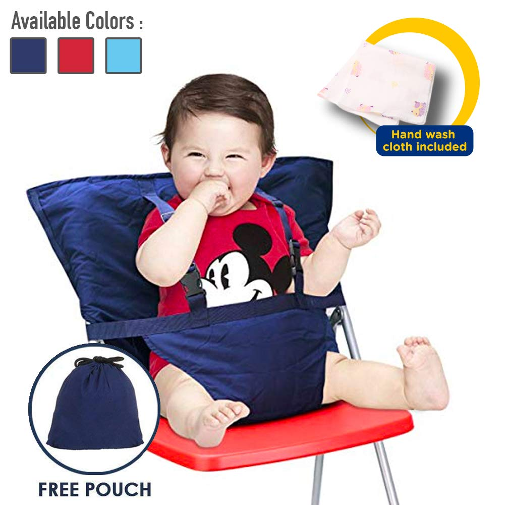 Comfecto Baby High Chair Harness, Travel High Chair for Baby Toddler Feeding Eating, Portable Easy Seat with Adjustable Straps Shoulder Belt, Holds Up to 44lbs, Hand Wash Cloth Included by Comfecto