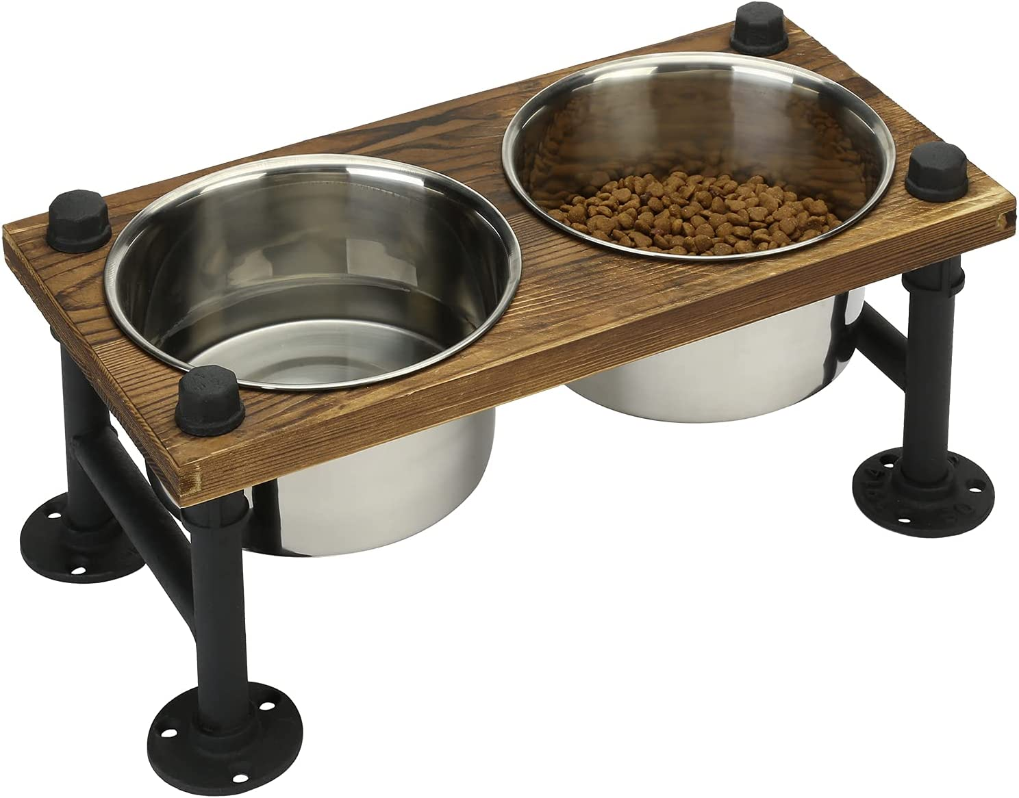 MyGift Rustic Wood and Industrial Metal Double Pet Dog Cat Feeder with Stand