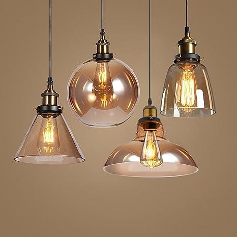Lámpara de techo de cristal, diseño retro, estilo industrial ...
