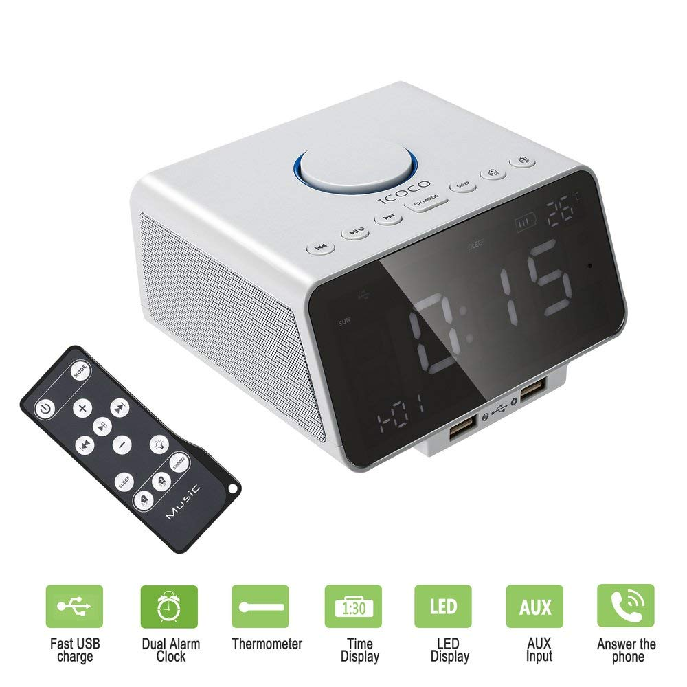 FDBF Digital Alarm Clock Speaker with FM Radio USB Charger LED ...