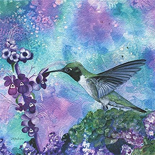 Hummingbird Cross Stitch Pattern - DIY 5D Diamond Painting Embroidery Cross Stitch Craft Diamond Painting By Number Kits, Phalaenopsis Flower Hummingbird Pattern,Home Decor Gift£¨9.8 x 9.8 inch£©(Frameless)