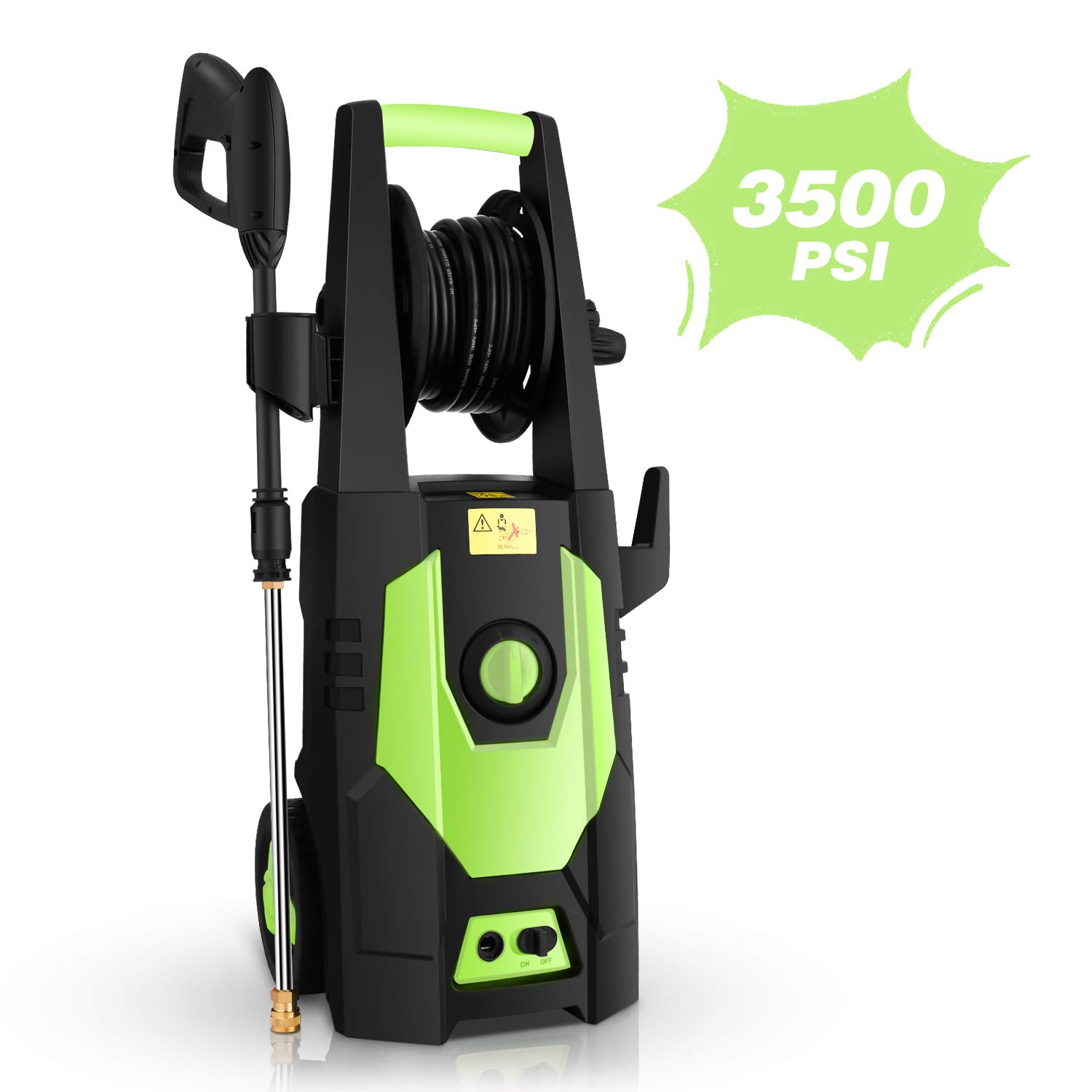 mrliance 3500PSI Electric Pressure Washer 2.0GPM Power Washer 1800W High Pressure Washer Cleaner Machine with Spray Gun, Hose Reel, Brush, and 4 Adjustable Nozzle (Green) by mrliance