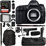 "Canon EOS 5D Mark IV DSLR Camera Body + 5D IV Camera Grip + 128GB Memory Card + Microphone + Polaroid 160 LED Video Light + 72"" Monopod + SLR Backpack Accessory Bundle"
