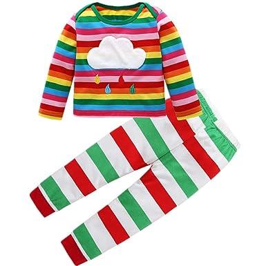 42c579325 Amazon.com: TheRang Toddler Kids Baby Girl Boy Rainbow T Shirt Tops+ ...