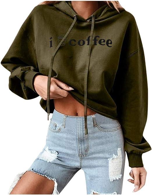 Yogogo damska bluza z kapturem, z długim rękawem, okrągły dekolt, sweter z kapturem, zimowy nadruk, krÓtki sweter sportowy z kapturem, top, wygodna bluza: Odzież