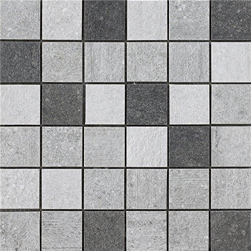 Porcelain Tile Mosaic | Three Colors Mixed Kitchen Backsplash Idea Bath Shower Wall Decor Art Mosaics, 8 Pcs 12'' X 12'' / Each, MZ1220-S1-FBA-1SET
