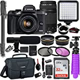 Canon EOS M5 Mirrorless Digital Camera with EF-M 15-45mm & EF 75-300 Lens + Auto (EF/EF-S to EF-M) Mount Adapter + Professional Video Kit with 32GB Memory, HD Filters, Monopod, Canon Gadget Bag & More