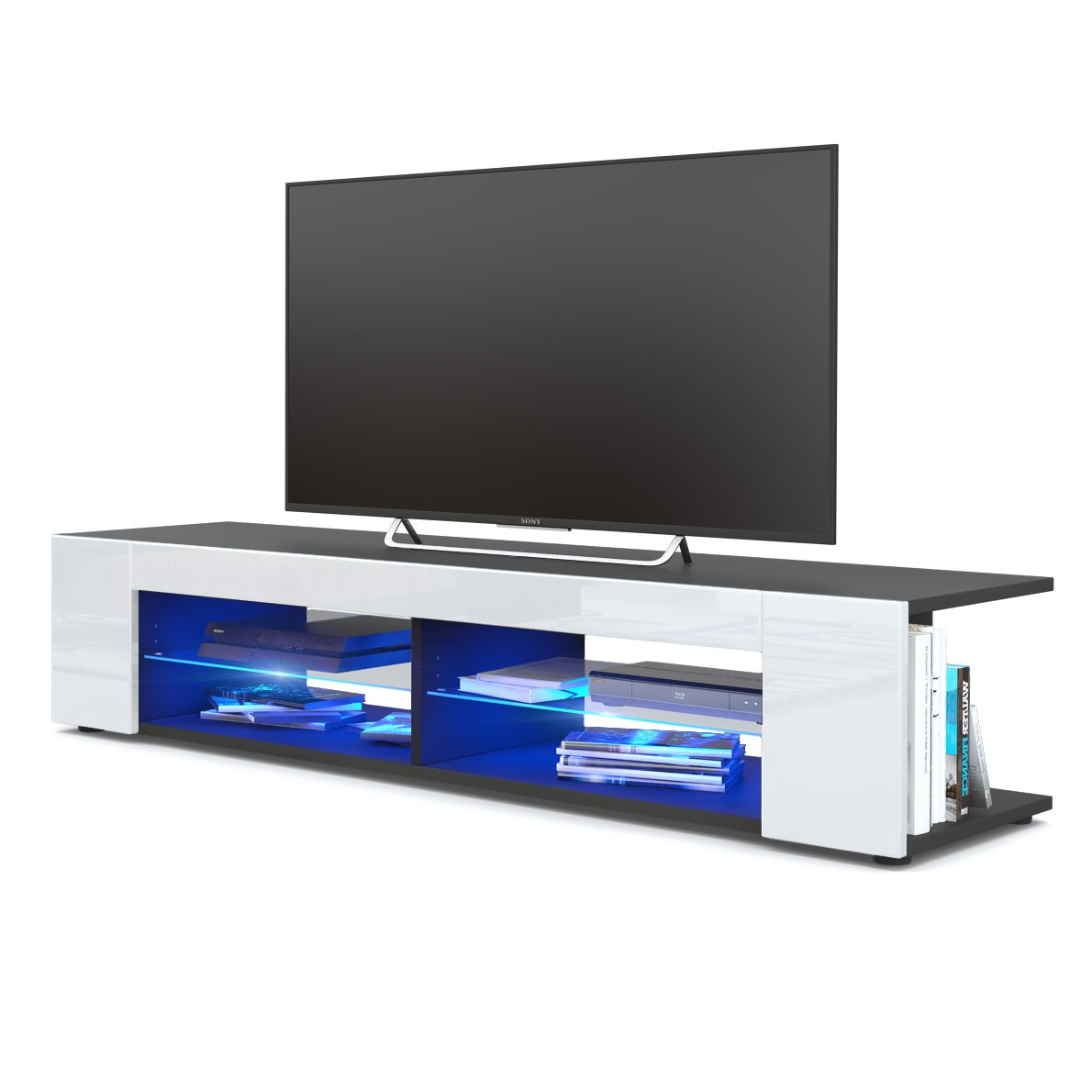 TV Board Lowboard Movie, Korpus in Schwarz matt/Fronten in Weiß Hochglanz inkl. LED Beleuchtung in Blau