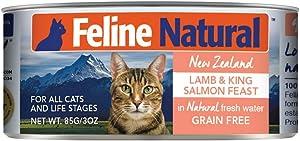Feline Natural BPA-Free & Gelatin-Free Canned Cat Food, Lamb & Salmon 3oz 24 Pack